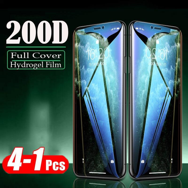 Película protectora 4-1 Uds 200D para IPhone 11 Pro XS Max XR X Protector de pantalla para IPhone 8 7 6s Plus película de hidrogel no de vidrio