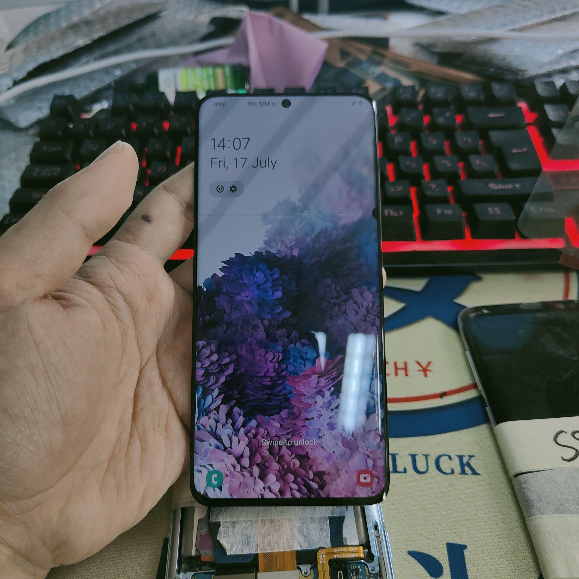 شاشة LCD مستعملة لهواتف سامسونج جالاكسي S20 G980F S20Plus G985F G986F S20 Ultra G988F شاشة LCD تعمل باللمس