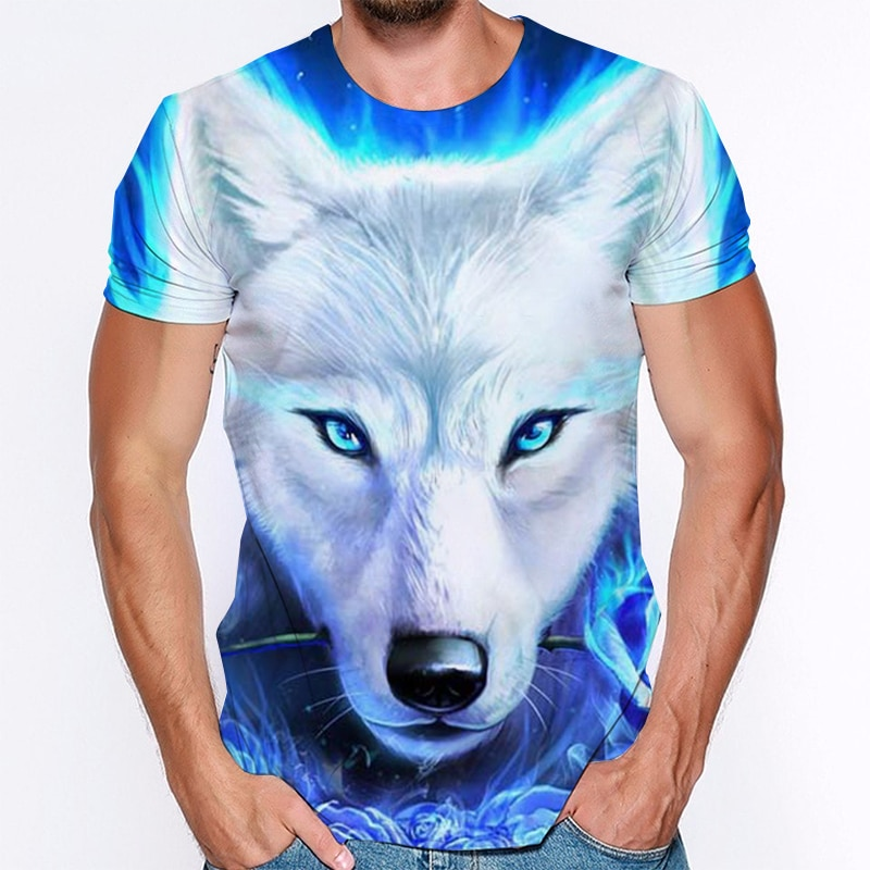 Snow Wolf 3D Print T Shirt Cool Style Short Sleeve Watercolor Animals Streetwear Man Women Clothing Pattern Tops & Tees