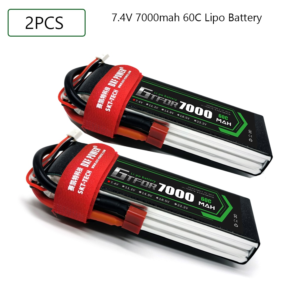 2pcs GTFDR 2S 3S 4S 6S Lipo Battery 7.4V 11.1V 14.8V 22.2V 7000mah 60CMAX 120C for RC 1:10 1:12 Cars Trucks Airplane Drones enlarge