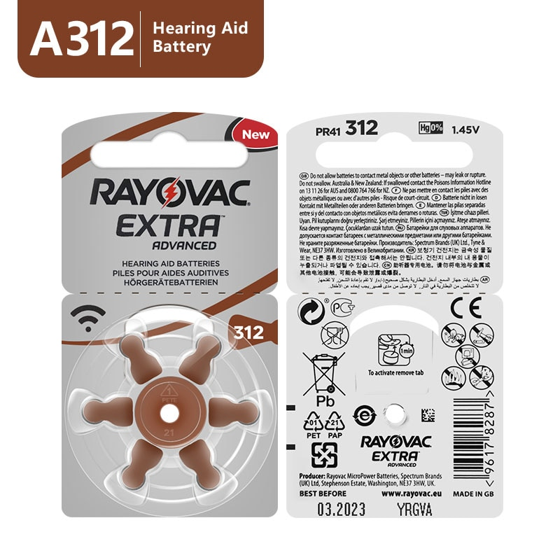 60 PCS Rayovac Extra Performance Hearing Aid Batteries 312 312A A312 PR41 .Free Shipping Zinc Air He