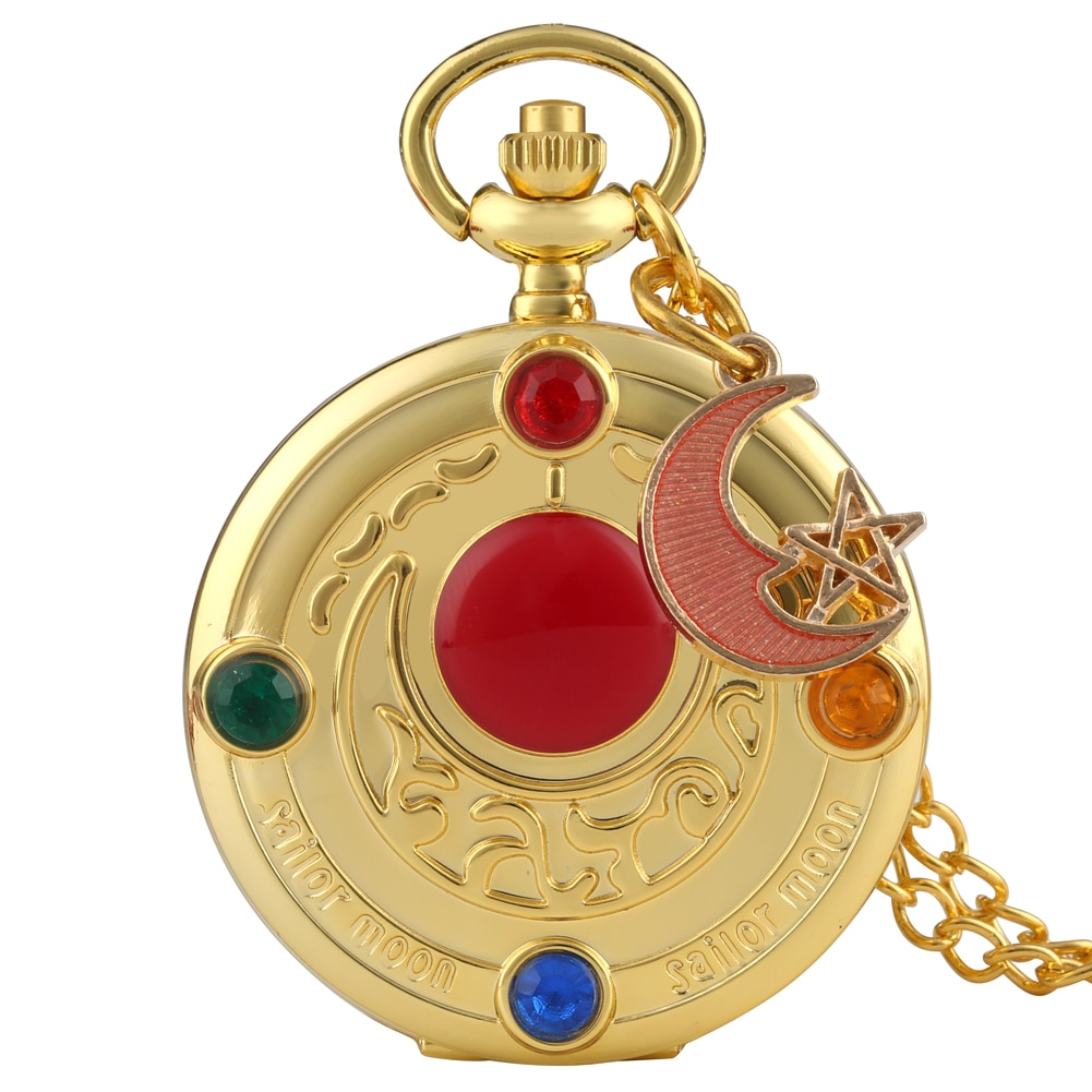 Color Diamond Case Cover Pocket Watch Girls Sailor Moon Dial for Female Fancy Red Moon Pendant Clock Accessory relogio de bolso color diamond case cover pocket watch girls sailor moon dial for female fancy red moon pendant clock accessory relogio de bolso
