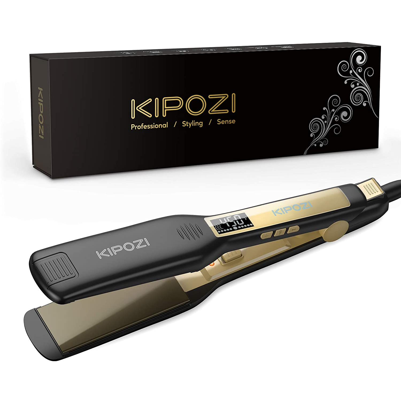 KIPOZI جهاز فرد الشعر بالبخار حديد مسطح التورمالين السيراميك المهنية الشعر فرد LCD شاشة رقمية صالون البخار الشعر
