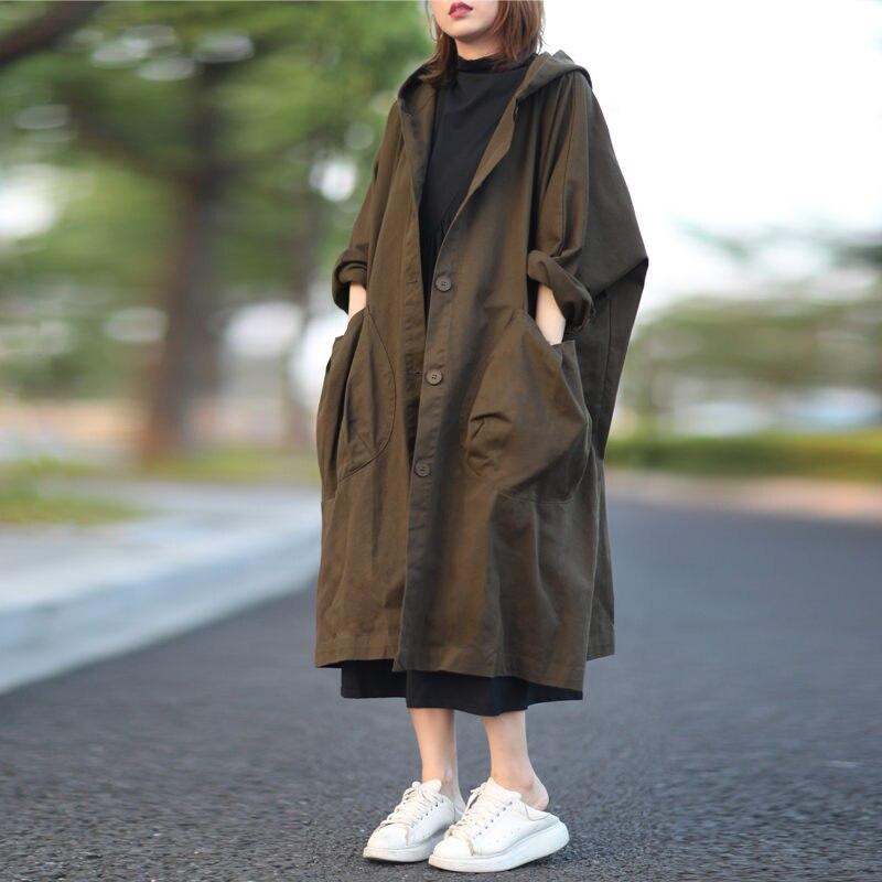 سترة واقية من الرياح مع جيب كبير للنساء ، ملابس بسيطة وكبيرة الحجم للغاية ، أكمام الخفافيش ، معطف غير رسمي ، y1346