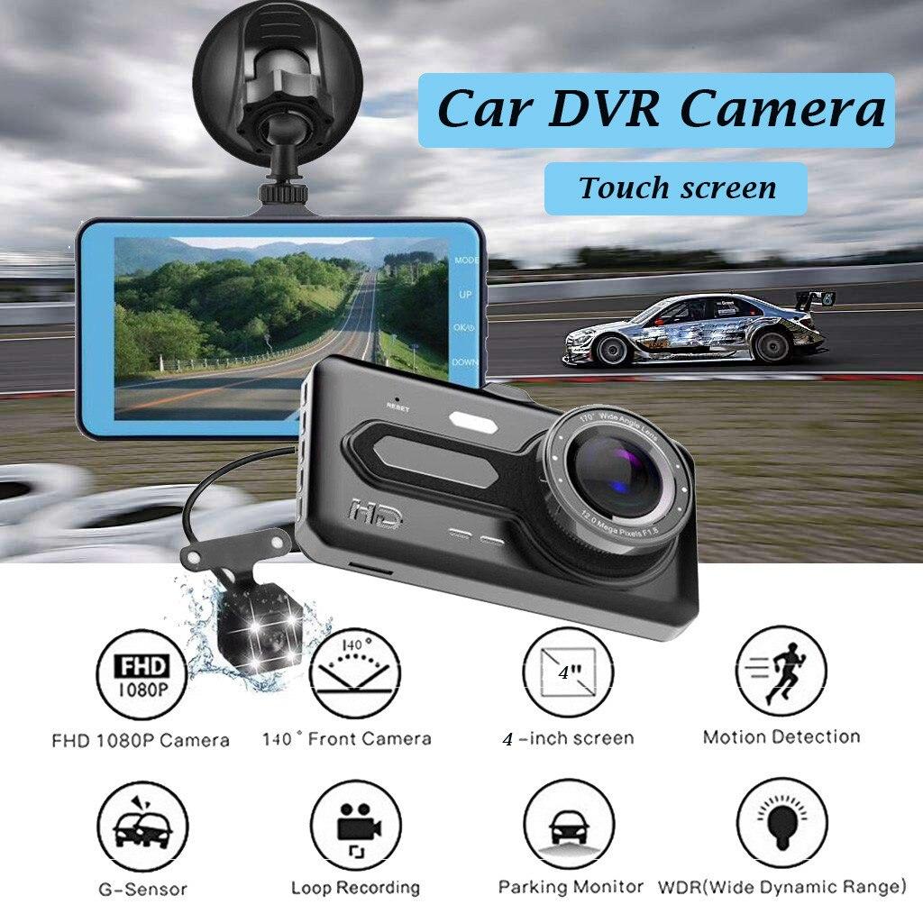 "4 ""IPS doble lente coche Dash Cam FHD 1080P Cámara del salpicadero 170 grados vehículo conducción DVR grabadora G -Sensor Monitor de aparcamiento amplio rango dinámico (WDR) A1"