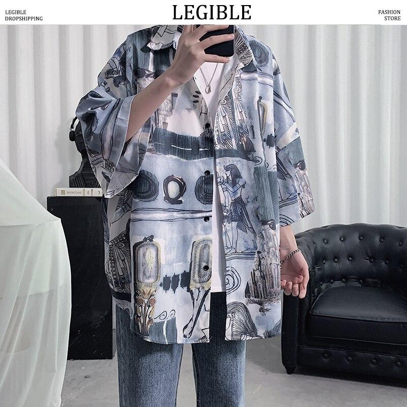 Legível camisa floral masculina 2020 moda coreana camisa de manga curta masculina havaiana camisas casuais soltas roupas masculinas