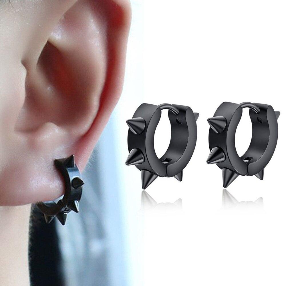 1 Pair Black Punk Women Men Hoop Earrings Spike Rivet Hoop Huggie Gothic Gold Stainless Steel Earring Jewelry Gifts Accessories