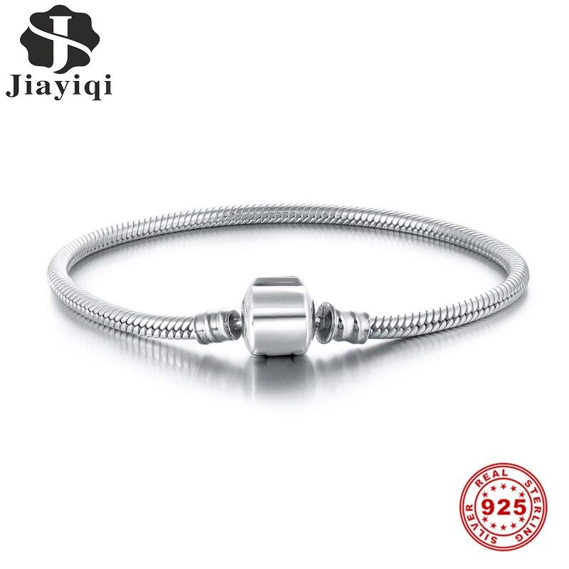 Jiayiqi S925 Snake Bone Chain Oval Buckle 925 Silver Bracelet Fit Pandora Charms Silver 925 Original DIY 925 Silver Jewelry
