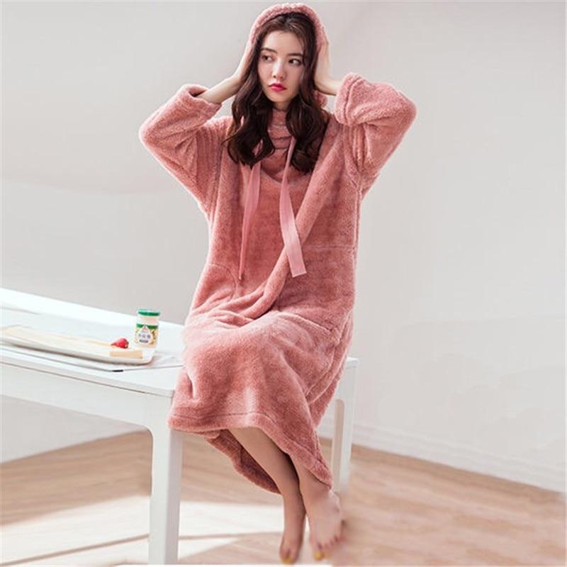 Winter Women's Nightgown Thicken Warm Flannel Nightdress Long Sleeve Sleepwear For Women Plus Size Nightwear For Women