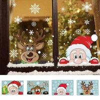 christmas window stickers merry christmas decorations for home christmas wall sticker kids room wall decals new year stickers
