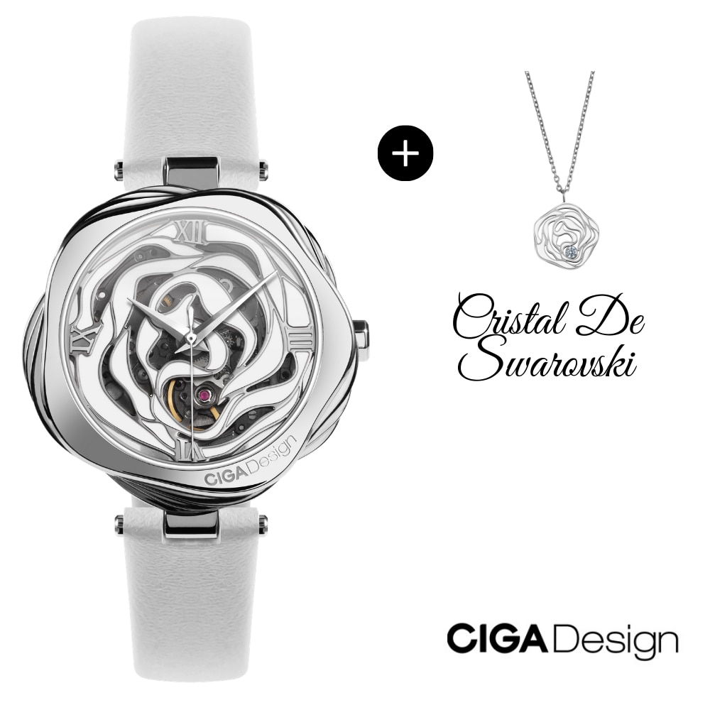 CIGA DESIGN Watches for Women Watch With Rose Necklace Ladies Watch Luxury Watches Quartz Wristwatches Mechanical Japan Movement