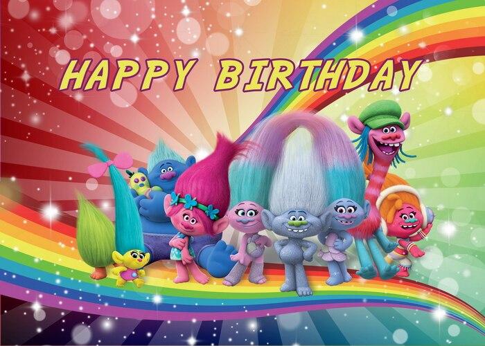 Мультфильм Тролль день рождения фон ткань День Рождения вечерние украшения фон фото плакат на стену подарок на день рождения детская игруш...