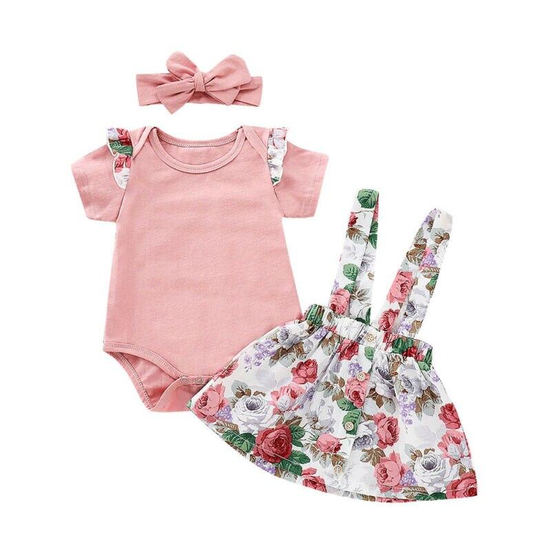 Baby Mädchen Kleidung Sets Kurzarm Tops Romper + Floral Bib Rock + Stirnband 3Pcs Baumwolle Sommer Kleinkind Infant outfits 0-2Y