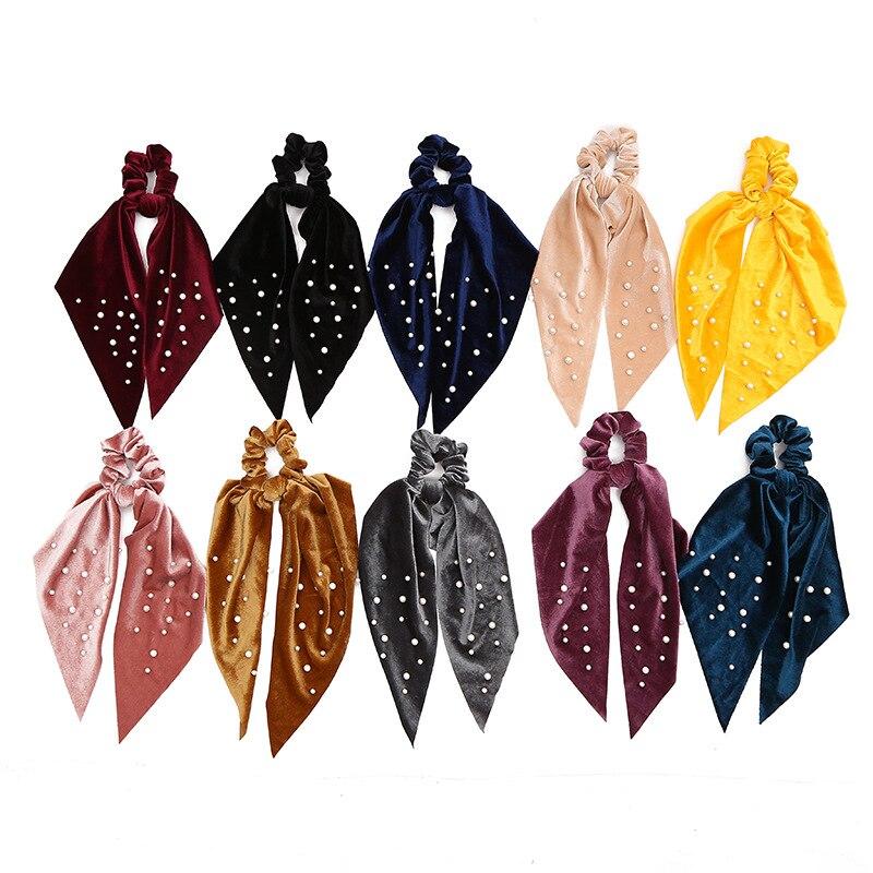 Модные жемчужные шарфы для волос, резинки для женщин и девочек, однотонные аксессуары для волос, бархатные эластичные резинки для волос