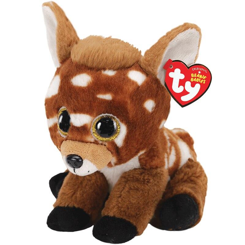 Ty Beanie Boos мягкие игрушки с большими глазами Бакли коричневые и белые пятнистые бриллианты мягкие прикроватные игрушки кукла подарок 15 см