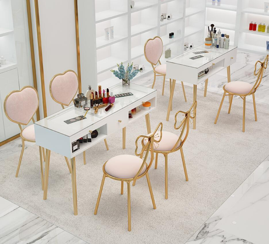 Фото - Manicure table and chair set combination Nordic net red single double double layer manicure station special economic ins adrian magson red station