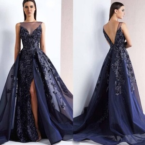 2020 New Navy Blue Long Evening Dress Sexy Open Back Side Split Organza Mermaid Prom Dresses Lace Appliques Beads Formal Gowns