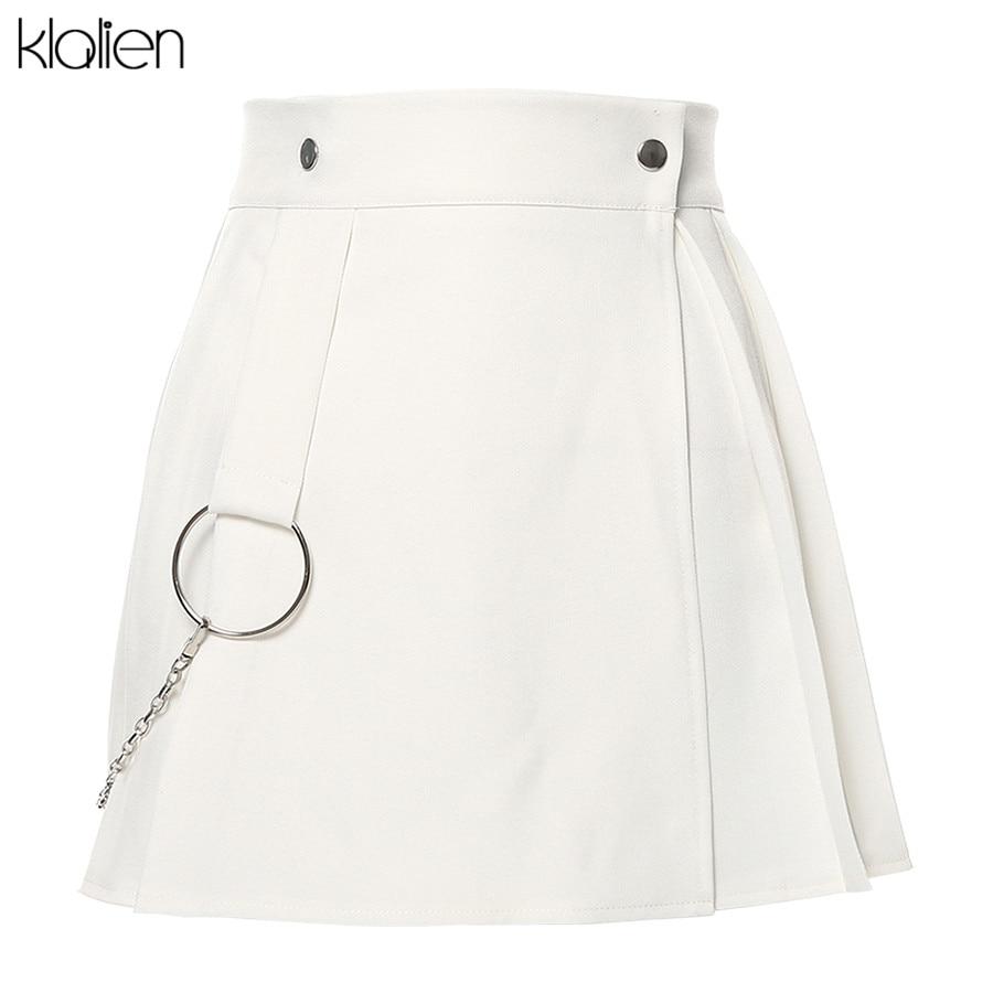 KLALIEN Harajuku Chicas lindas lolita blancas faldas plisadas mujer otoño salvaje cadena de metal decorativa negro gótico mini Faldas mujer