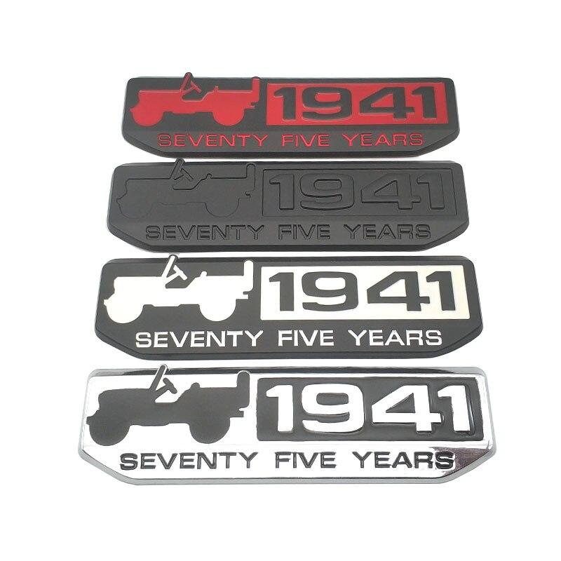 Diseño de coche Metal 1941 setenta y cinco años Logo emblema Wing Fender Badge Sticker para Jeep Patriot Liberty Wrangler Cherokee