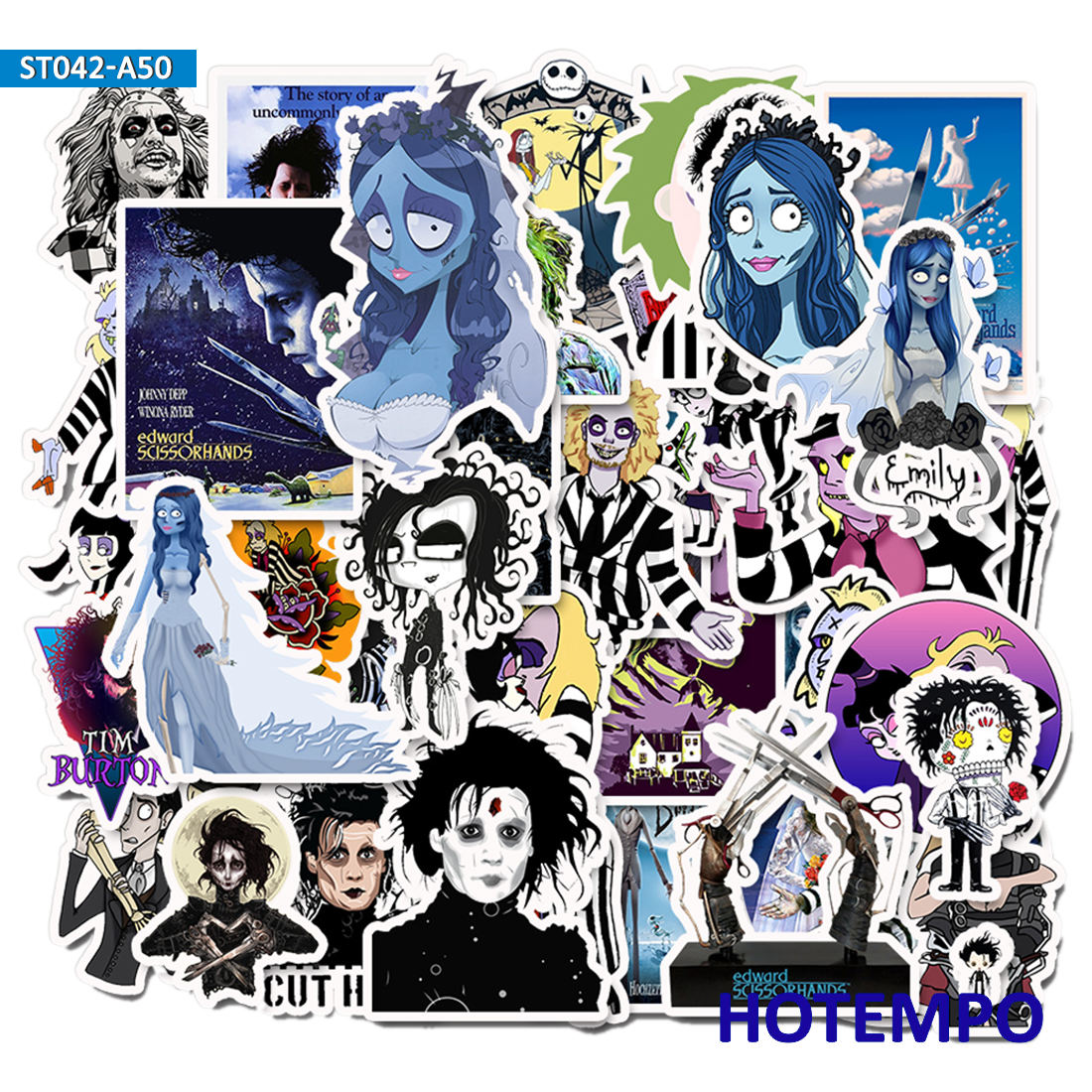 50 Uds estilo Tim Burton película clásica mixto pegatinas de dibujos Paquete...