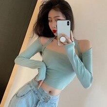 Camiseta coreana Sexy Simple elegante sin tirantes cruzado de encaje hasta la exposición ombligo de manga larga Camiseta azul claro Moda Mujer 2019