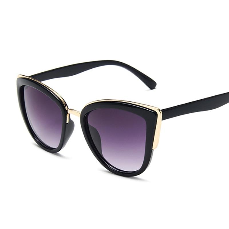 Vintage Cat Eye Sunglasses Women Fashion Brand Designer Sunglasses Female Sexy Leopard Cateyes Black