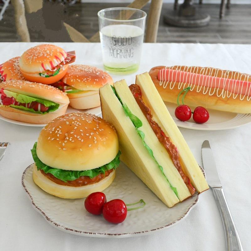 Pan Artificial barato PU material comida de imitación modelo ornamentos tarta falsa panadería fotografía props Navidad ventana Decorat