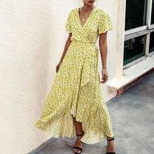 Hot 2020 Summer Fashion Polka Dots Sexy V-neck Ruffles Short Sleeve Women's Dress 800187