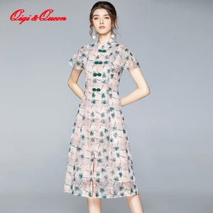 Qiqi&Queen Female Vintage Lace Dress New England Style Brand Summer Fashion Big Swing A-line Elegant Women Party Dresses