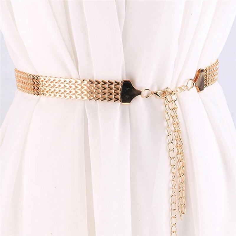 Женский модный ремень с высокой талией, золотистая узкая металлическая цепочка с бахромой Женские ремни      АлиЭкспресс
