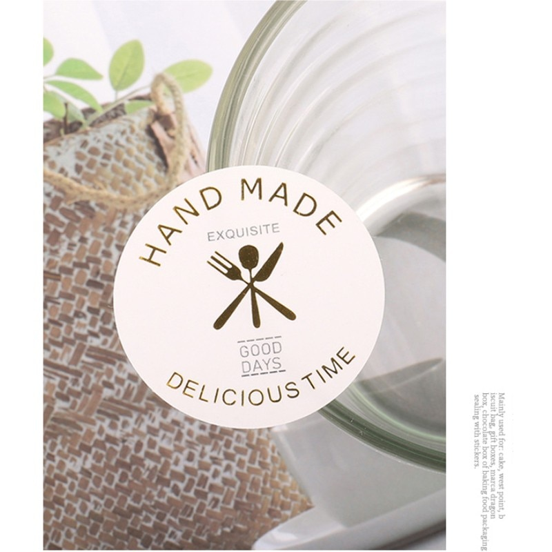 free shipping 1200pcs New Handmade Sticker Baked Food Label Sticker Milk Tea Cup Drink Bottle Round Seal Sticker