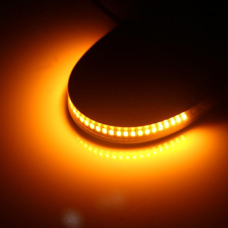 2 luces LED de intermitente para motocicleta, tira de luces de barra trasera superbrillante ámbar, lámpara de bombilla intermitente frontal 3014 SMD Universal