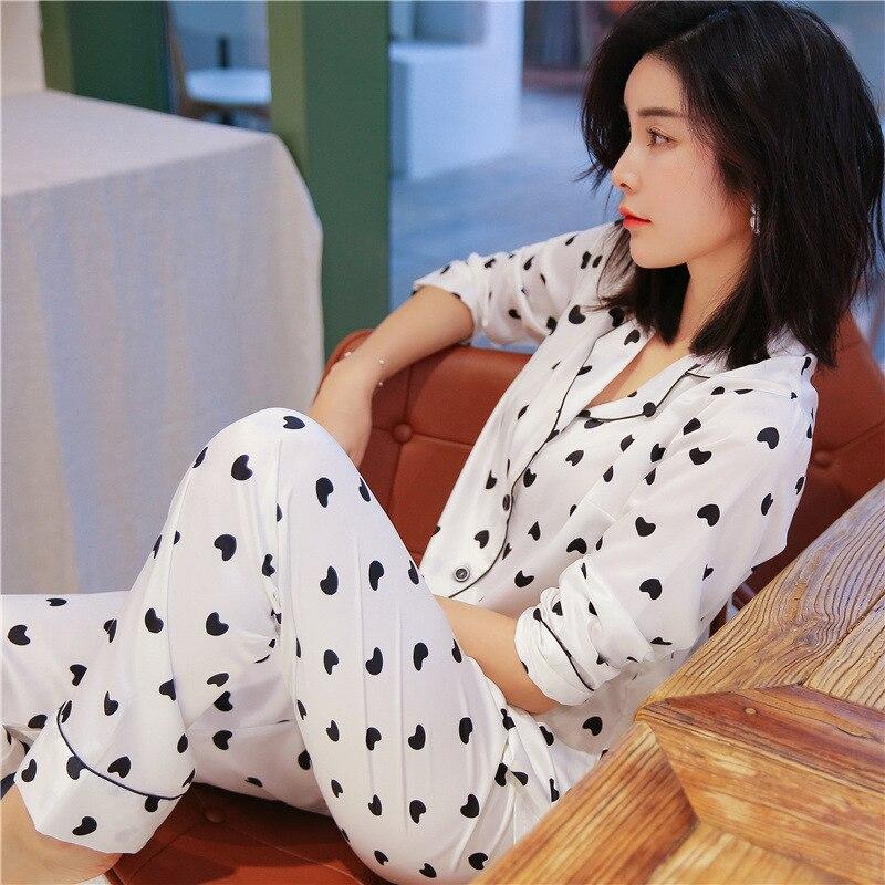 Youhottest Pijama de manga larga para mujer Pijamas de seda natural con estampado de corazón