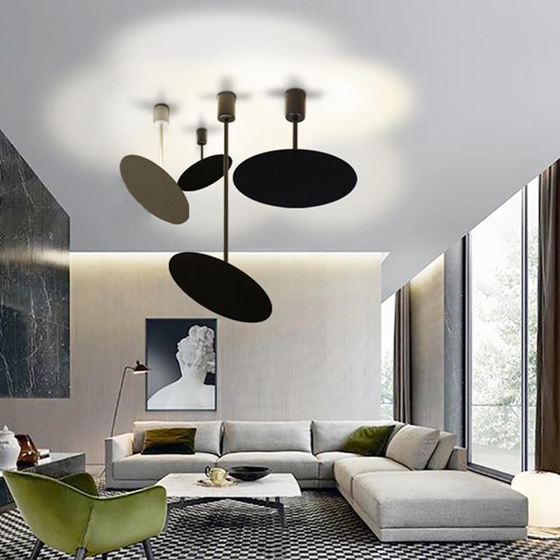 Art deco Modern brief black white LED Pendant Lights adjustable minimalist for restaurant bar cafe office bedroom living room  - buy with discount