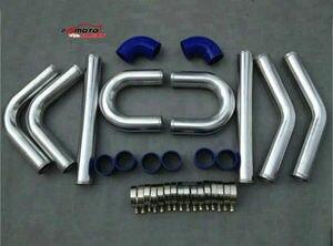 "57mm Aluminum Universal Intercooler Turbo Piping blue hose T-Clamp 2.25"""