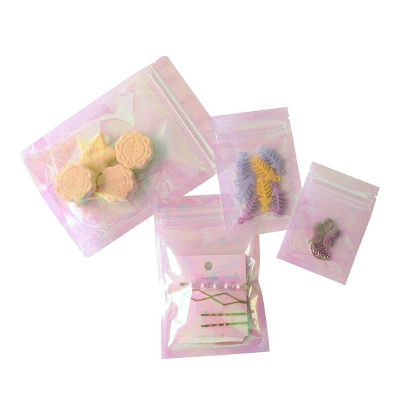 Bolsa transparente cierre hermético iridiscente 300 Uds., bolsas de plástico para cosméticos, bolsas iridiscentes con láser, bolsas de maquillaje holográficas, bolsa con cremallera