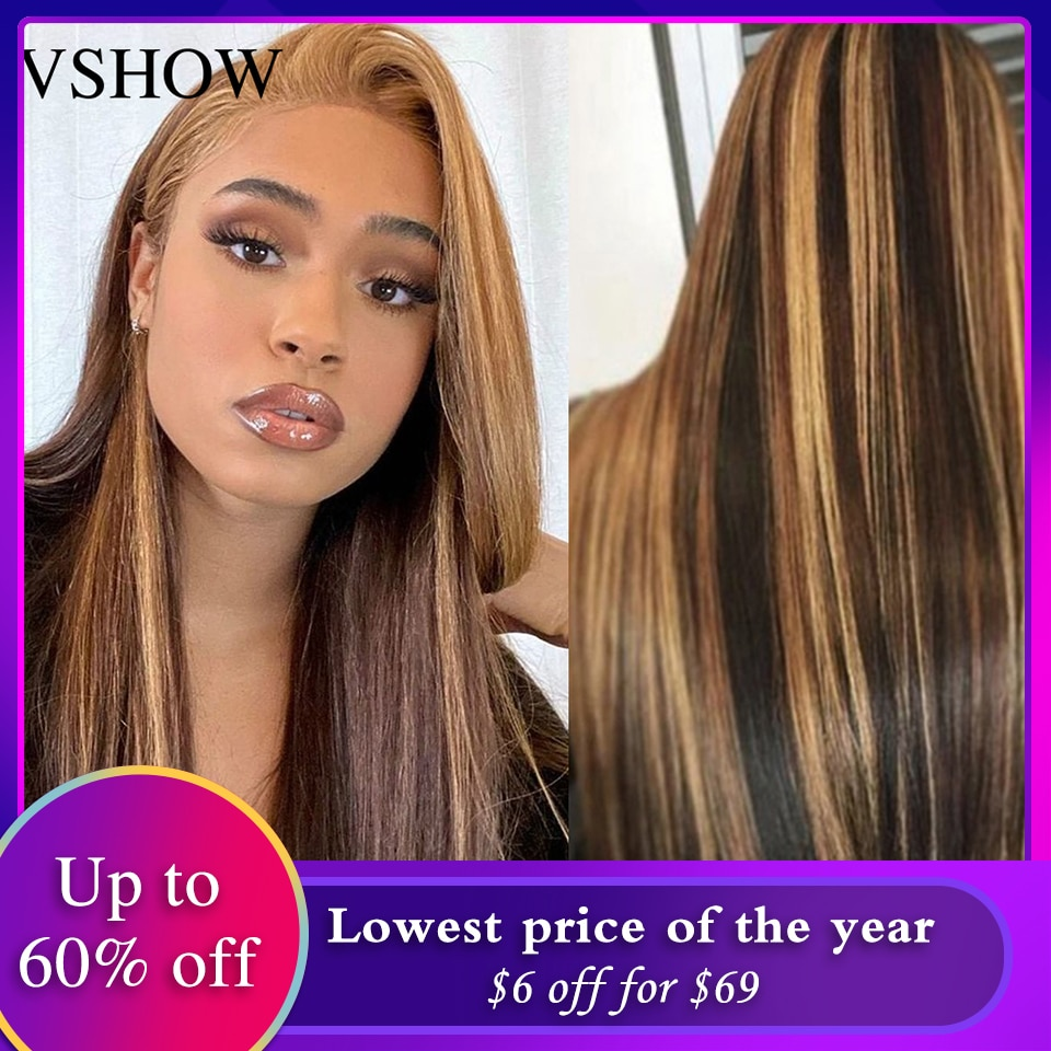VSHOW Straight 4/27 Highlight 13x4 Lace Frontal Wig Ombre Honey Blonde Wigs 4x4 Lace Closure Wig Brazilian Human Hair Laced Wigs