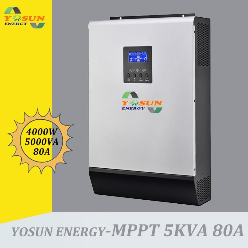 عاكس للطاقة الشمسية بموجة جيبية نقية ، 5 كيلو فولت أمبير ، 4000 واط ، 230 فولت تيار متردد ، شحن 48 فولت تيار متردد ، بطاقة متوازية مجانية