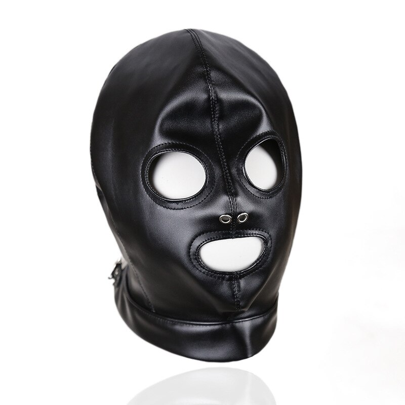 fffsex exotic accessories fetish slave bdsm bondage restraints sex mask mouth eye open head harness blindfold for couples Black Blindfold Sex Toys for Couples Leather Halloween Eye Mask Gay Fetish Masks Games Performance Bdsm Sex Bondage Restraints
