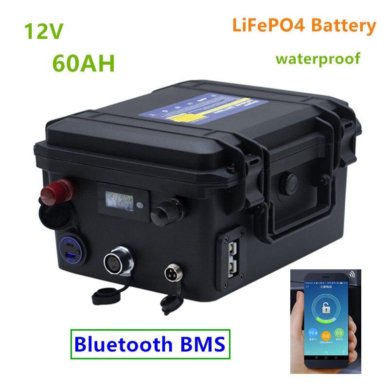 12 فولت 60ah LiFePO4 بطارية مع بلوتوث BMS lifepo4 12 فولت 60AH بطارية ليثيوم حزمة بطاريات مقاومة للماء