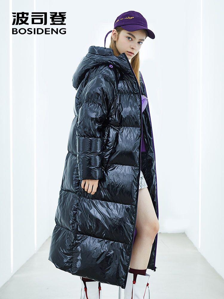 BOSIDENG puff collection women deep winter thicken goose down jacket X-Long down parka coated fabric waterproof B80141118