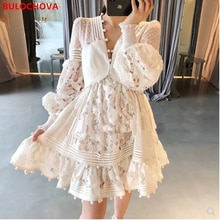 High-End Custom Women Fashion V Neck Lace Hollow Out Holiday Mini Dress 2021 New Designer Ladies Lan