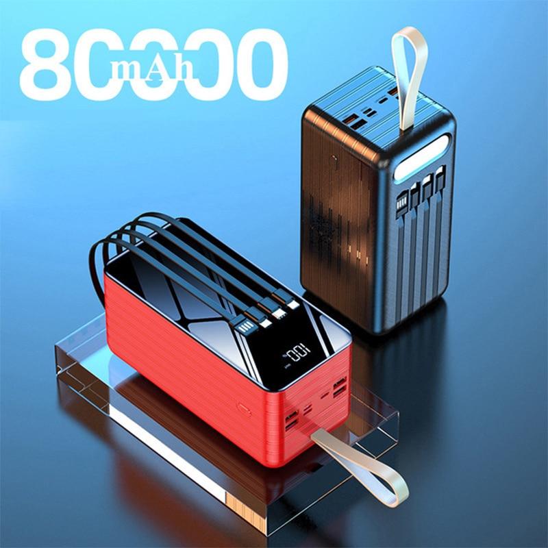 80000mAh قوة البنك ل شاومي Mi آيفون 12 هواوي سامسونج Powerbank المحمولة شاحن بطارية خارجية حزمة قوة البنك Poverbank