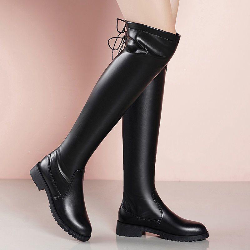 Sexy sobre o Joelho Alto do Plutônio para Mulheres de Neve Botas de Couro Botas Finas Moda Feminina Inverno Coxa Sapatos Mulher Femininas 2021