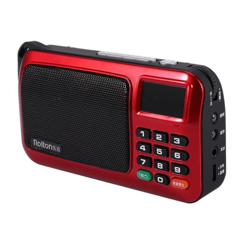 Rolton W505 Radio portátil de mano Digital FM USB TF reproductor de MP3, altavoz con pantalla LED, Subwoofer MP3 Player/linterna ()