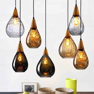 Vintage Glass Pendant Lights Kitchen Hanging Lamp Bedroom Living Room Home Lighting Nordic Art Deco Dining Room Light Fixtures