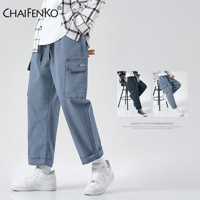 CHAIFENKO Carga Calças Hip Hop Homens Moda Harajuku Streetwear Casual Corredores Sweatpant Harem Pant Multi-Bolso Homens Jean M-8XL