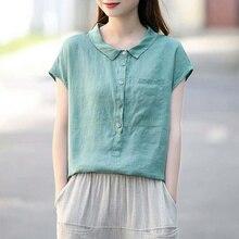 100% Cotton Tops Women Vintage Casual Blouses New 2020 Summer Korean Style Peter Pan Collar Mori Girls Shirts Plus Size P632