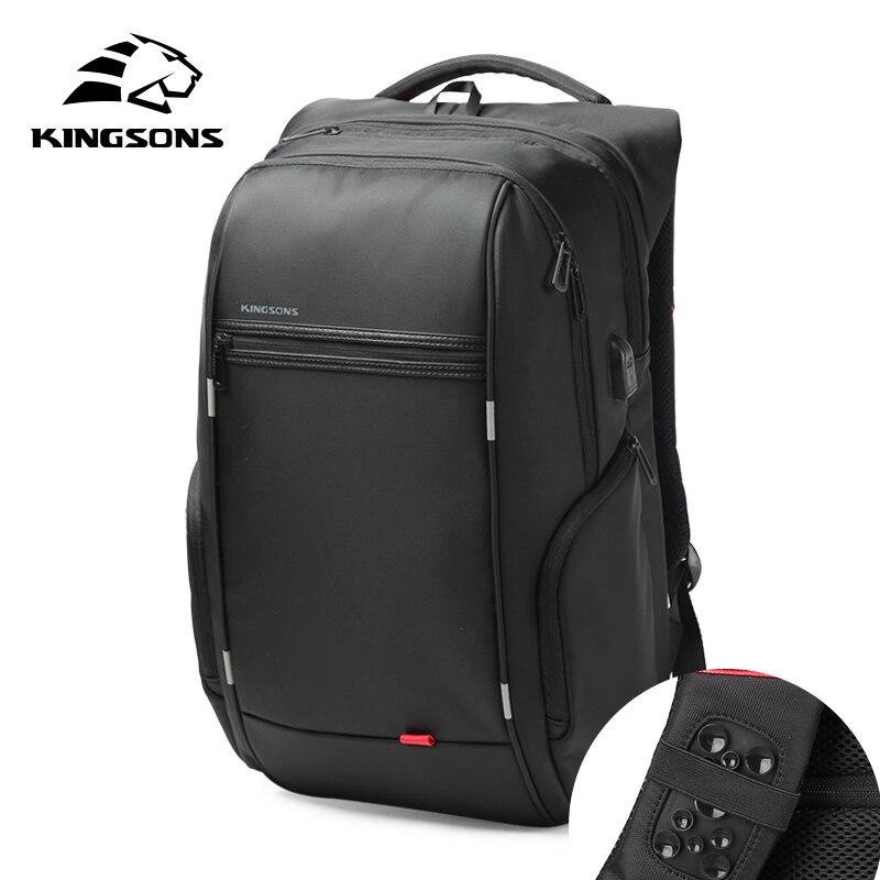 Mochila impermeable Kingsons para hombre y mujer, mochila escolar para hombre y mujer con carga USB, mochila para ordenador portátil antirrobo 13,3, 15,6, 17,3 pulgadas
