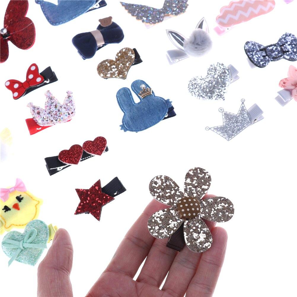 5 uds. Horquillas para el pelo para mascotas, lazos florales de algodón sólido, Clips para el pelo de mariposa, horquillas para el pelo para niñas, perros, gatitos, cachorros
